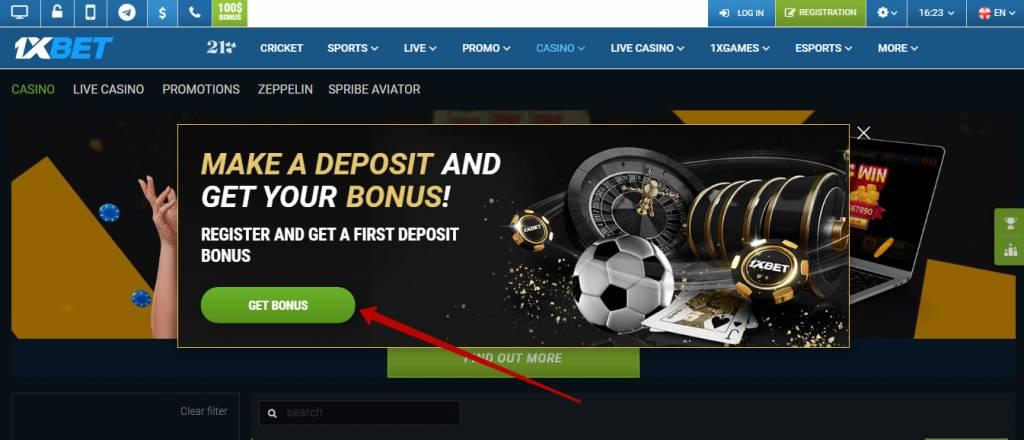 1xBet casino first deposit bonus
