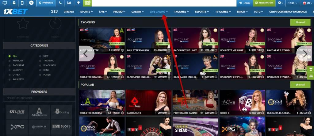 1xBet live casino games