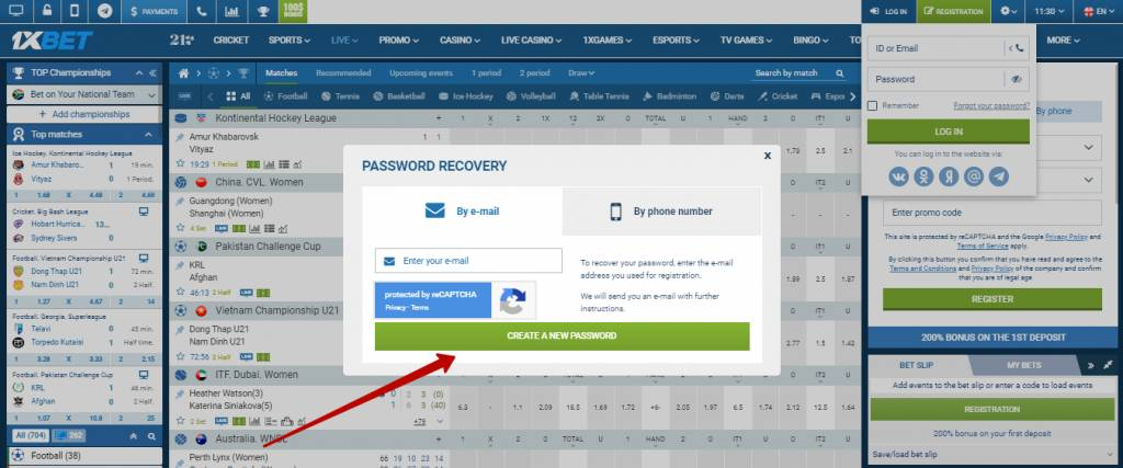 1xBet login account by email