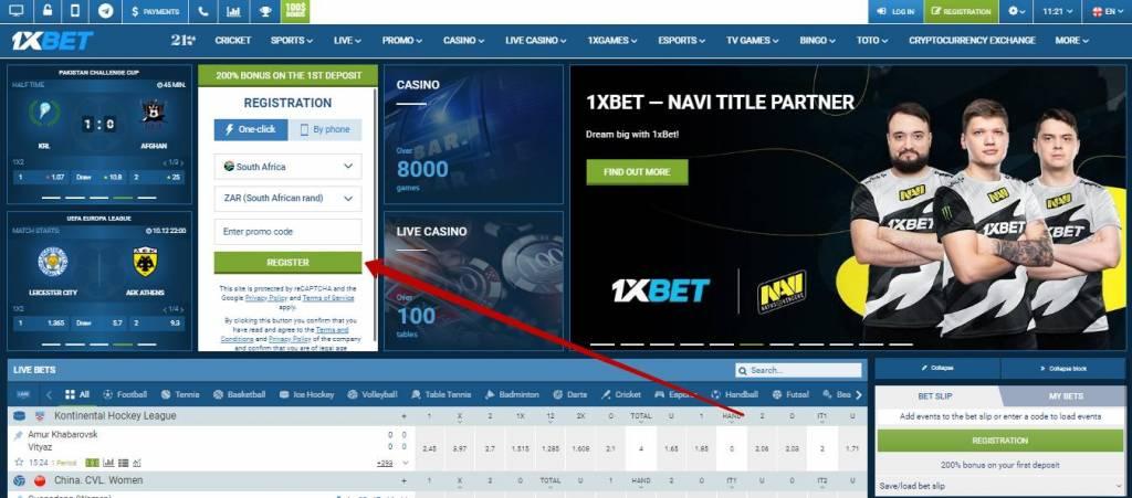 1xBet registration guide