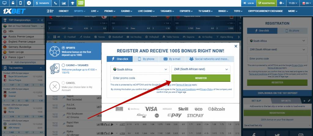 1xBet registration in one click