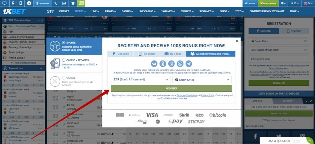 1xBet registration via social networks