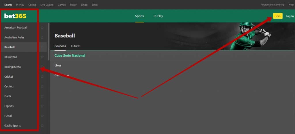 Bet365 sports betting types