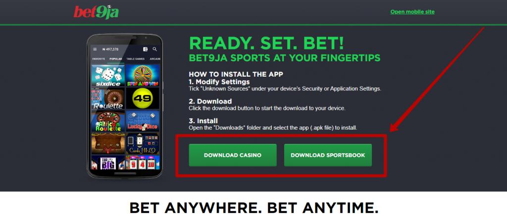 Bet9ja mobile app for betting