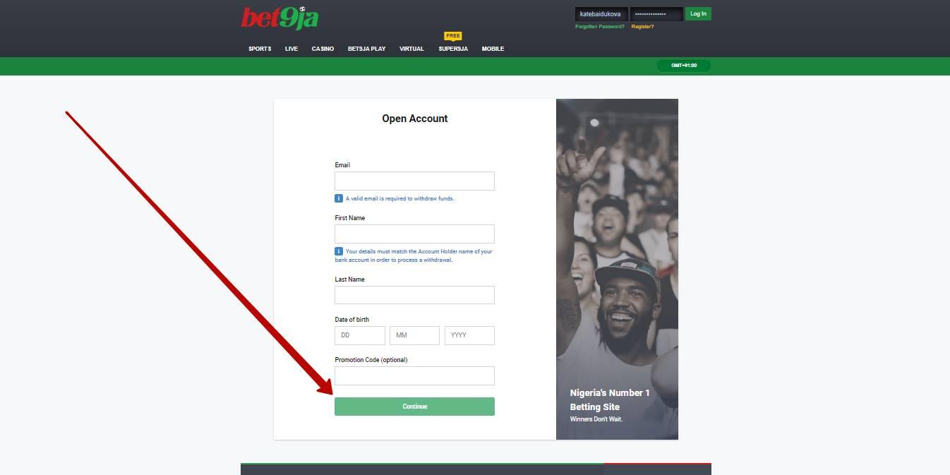 Bet9ja registration form