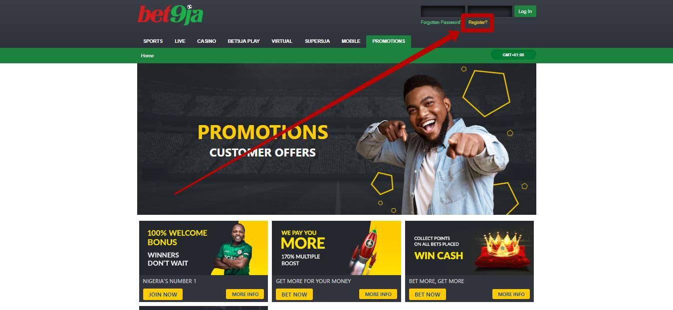 Bet9ja registration in Africa