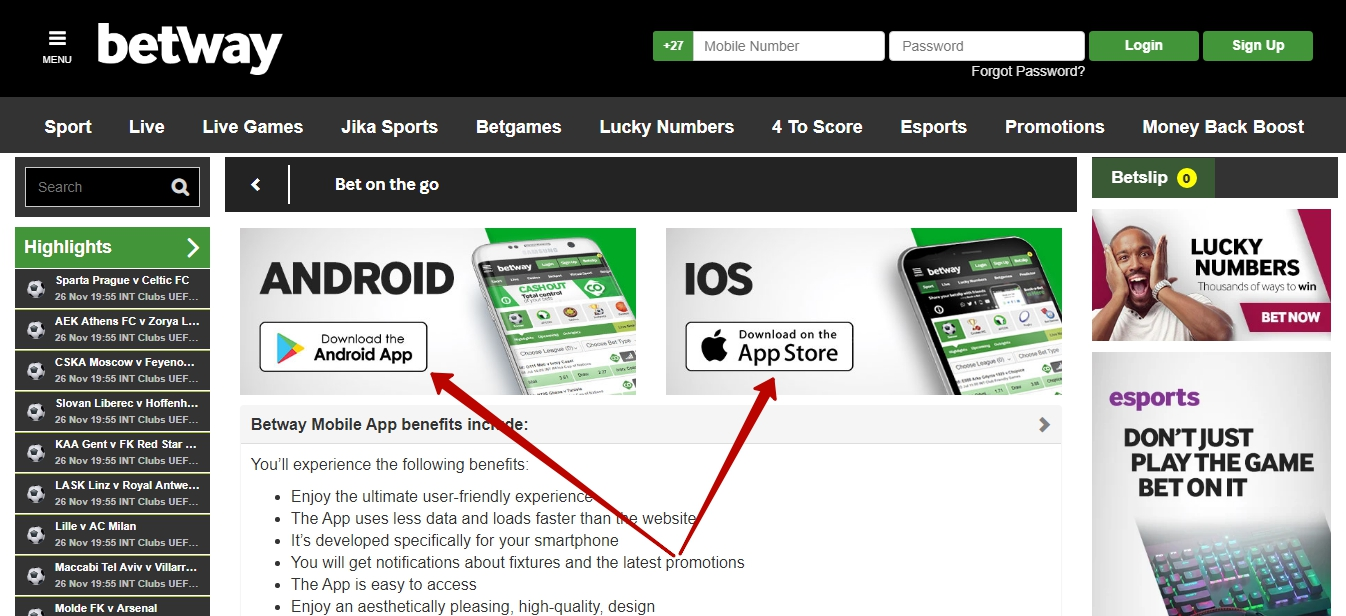 Betway app for Android and iOS
