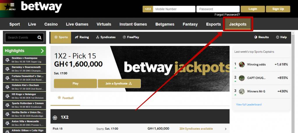 Betway jackpot bonuses