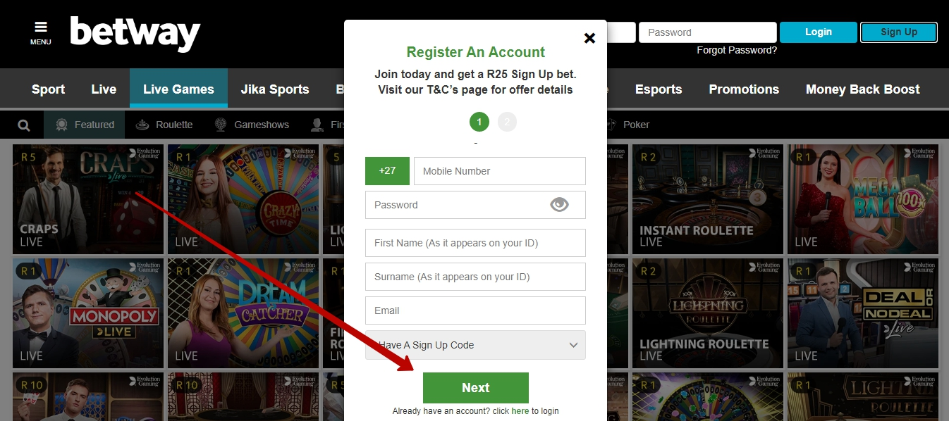 Betway registration form