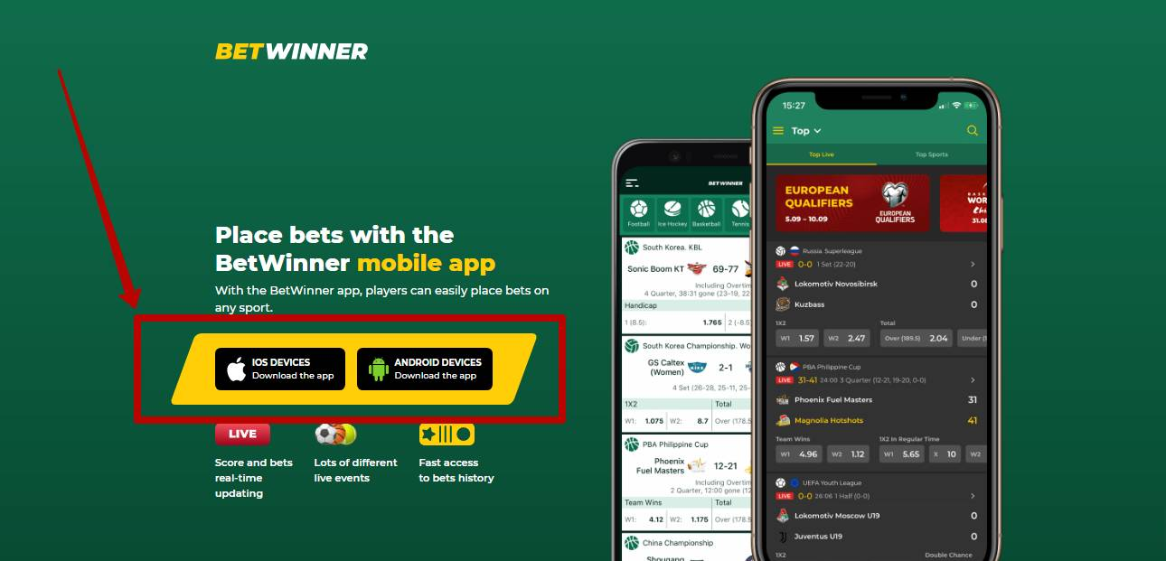 Betwinner app for Android and iOS