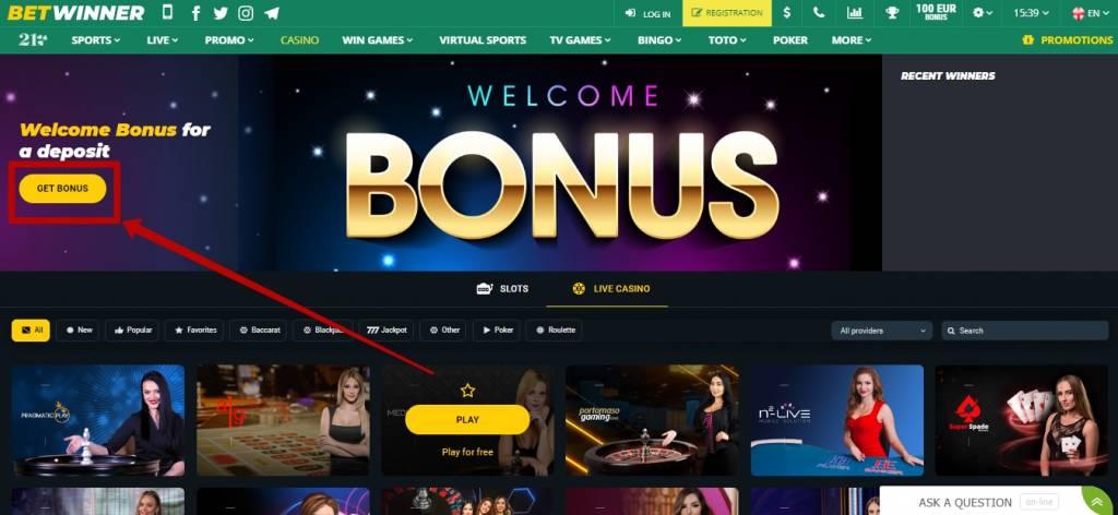 Betwinner live casino games
