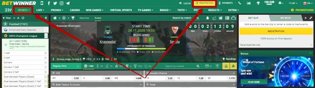 Betwinner sports betting types