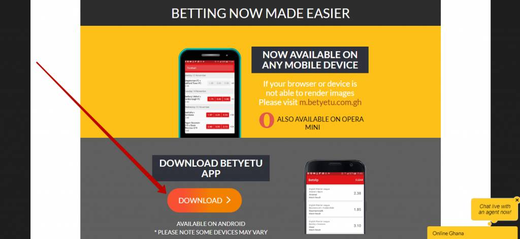 Betyetu app for mobile