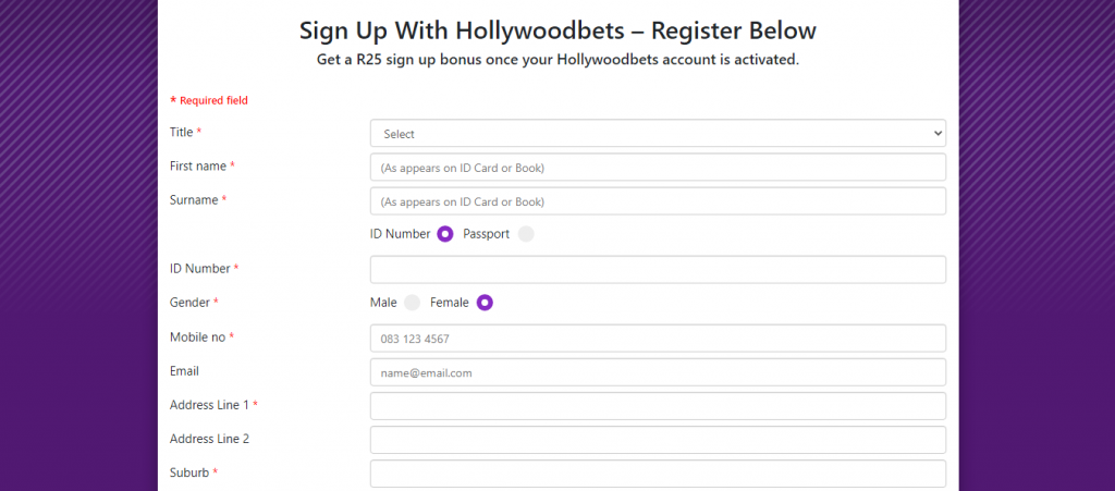 Hollywoodbets sign up in Africa