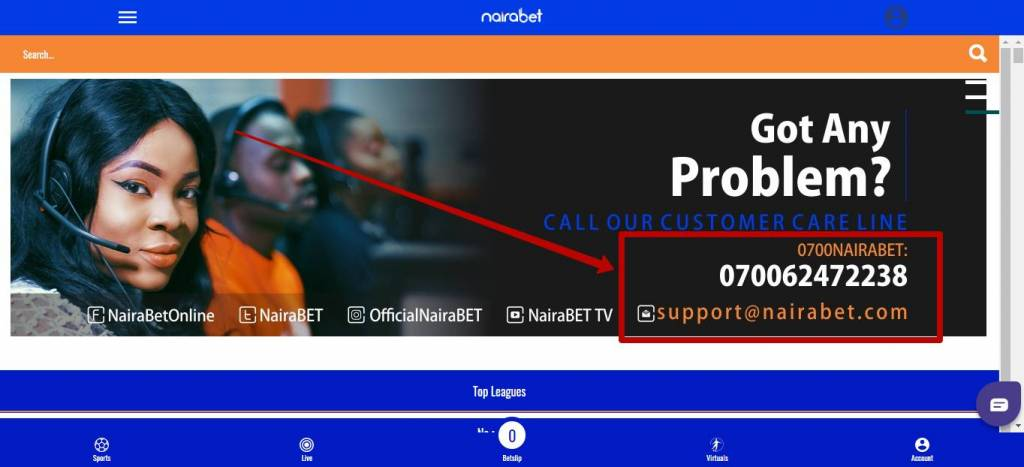 Nairabet online customer support