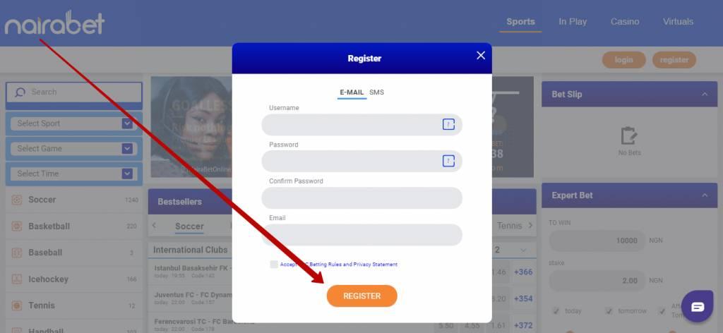 Nairabet registration online