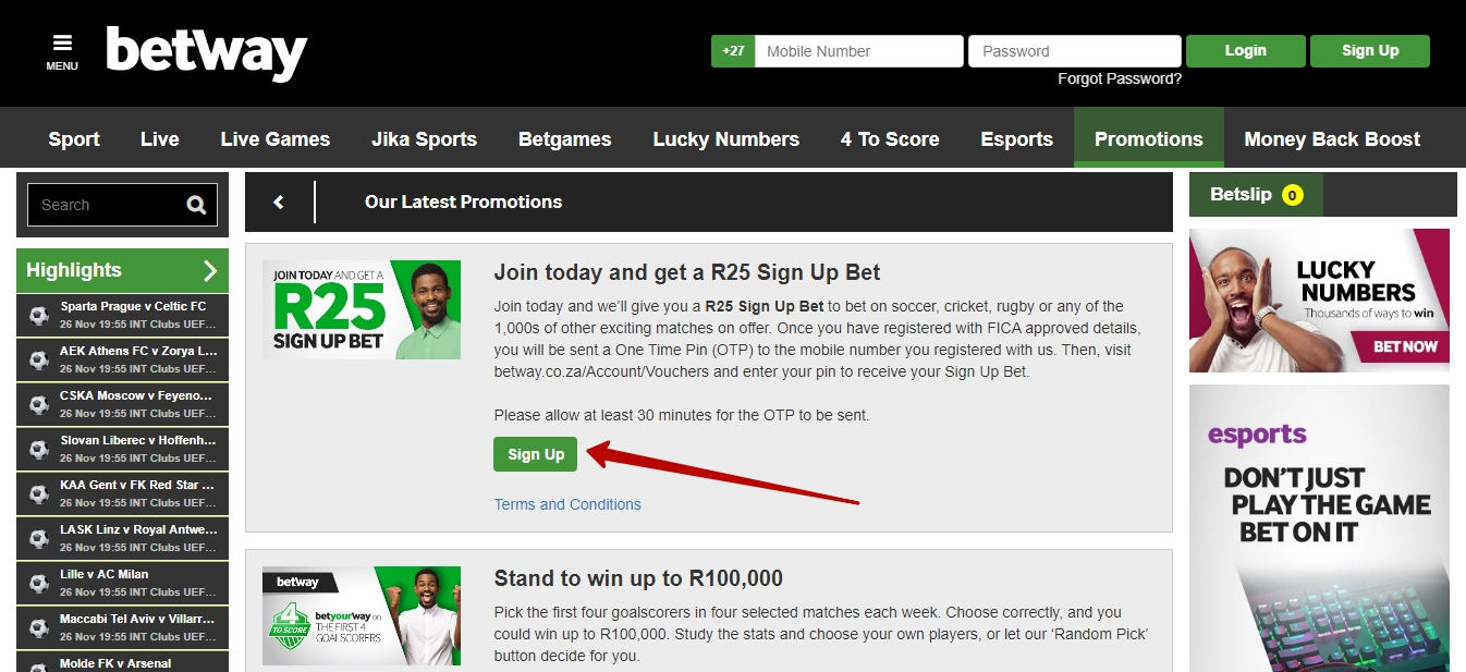 Online Betway registration