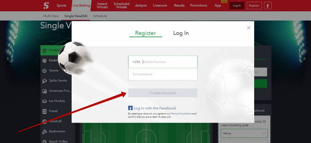 Sportybet registration process