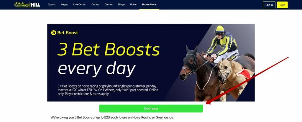 William Hill bonus bet boosts