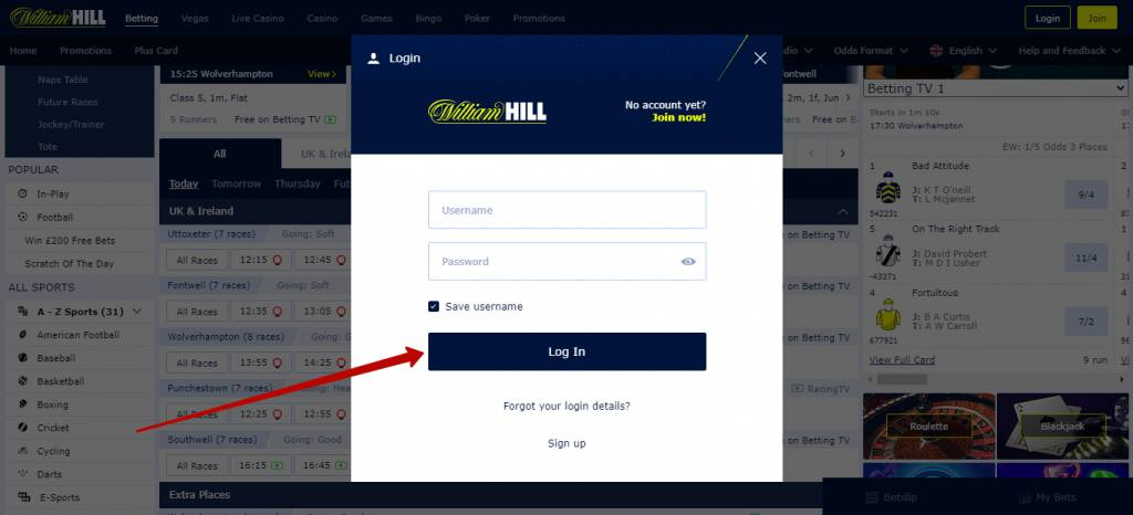 William Hill login my account