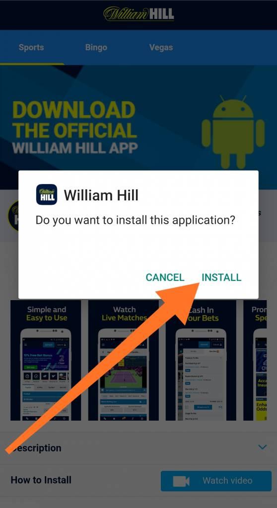 William Hill mobile app installation