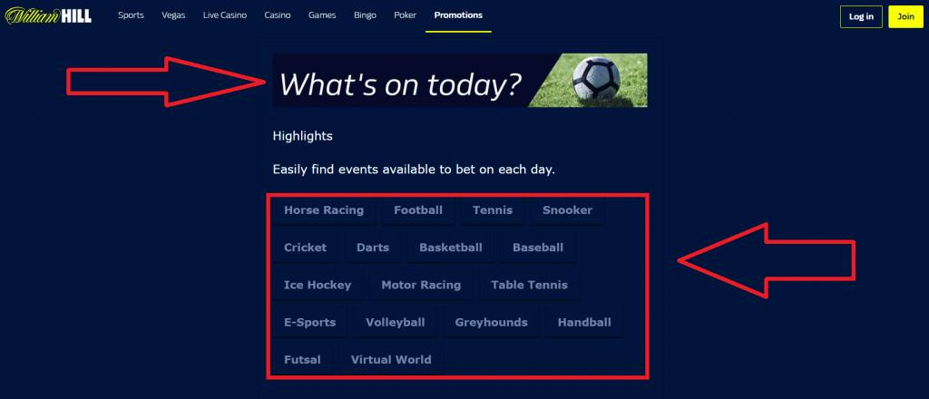 """New function """"What's on today?"""" by William Hill"""