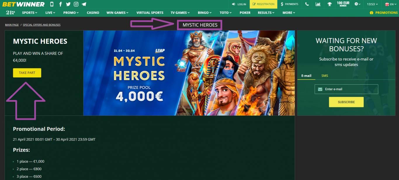 Betwinner Mystic Heroes promotion